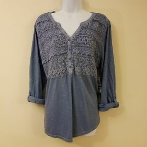 Style & Co. Blue Crochet Floral Knit Top